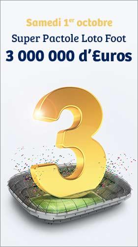 Pactole Loto Foot samedi 1 octobre 3 000 000 euros